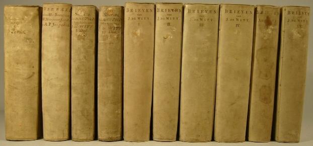 WITT, JOHAN DE. - - Resolutien der .. Staten van Hollandt ende West-Vriesland .. genomen zedert den aenvangh der bedieninge van .. Johan de Witt als raedt-pensionnaris .. 1653 .. 1668. (And:) Secrete resolutien .. 1653 .. 1668. 2 volumes. (and:) Brieven geschreven ende gewisselt tusschen .. Johan de Witt .. ende de gevolmaghtigden van den staedt der Vereenighde Nederlanden. 6 volumes. With engraved portrait after J. Houbraken. (And:) Verbael gehouden door .. H. van Beverningk, W. Nieupoort, J. van de Perre, en A.P. Jongestal, als gedeputeerden en extraordinaris ambassadeurs van de heeren Staeten Generael .. aen de Republyck van Engelandt. .. Vervullende ook de tydt en saecken die aen de brieven van .. J. de Witt en verdere ministers, omtrent de Engelsche negociatie, ontbreecken.