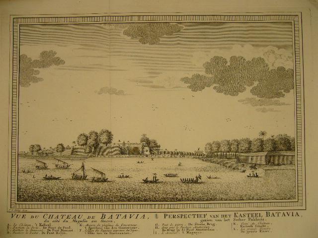 BATAVIA. - Vue du chateau de Batavia du côté du magasin au sucre. Perspectief van het kasteel Batavia, gezien van het suiker pakhuis.