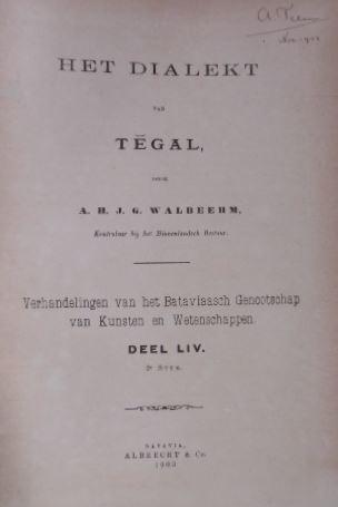 WALBEEHM, A.H.J.G. - Het dialekt van Tegal.