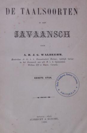 WALBEEHM, A.H.J.G. - De taalsoorten in het Javaansch.