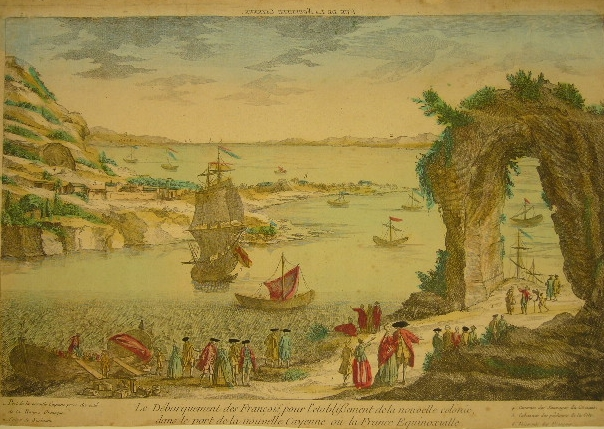GUIANA. - - Le débarquement des François, pour l'etablissement de la nouvelle colonie, dans le port de la nouvelle Cayenne ou la France Equinoxialle. Gravé d'après le dessein fait sur les lieux par un officier Espagnol en 1762.
