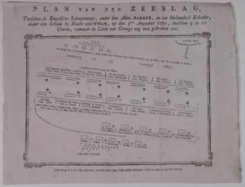 ZOUTMAN, JOHAN ARNOLD. - Plan van den zeeslag, tusschen de Engelsche scheepsmagt, onder den Adm. Parker, en het Hollandsch eskader, onder den Schout bij Nacht Zoutman, op den 5den augustus 1781, tusschen 9 en 10 uuren, wanneer de linie van gevegt nog niet gebroken was.