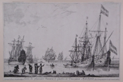 NOOMS, REINIER (ZEEMAN). (AFTER). - Harbour view with several sailing vessels, one being caulked, and rowing-boats. With several men standing ashore.
